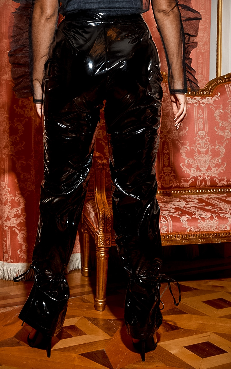 Black Vinyl Lace Up Pants 5