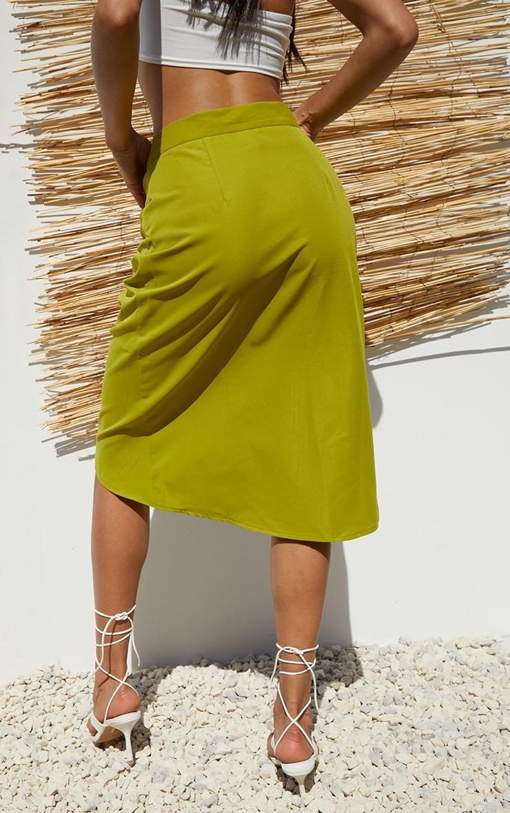 Lime Foldover Button Through Midi Skirt 3
