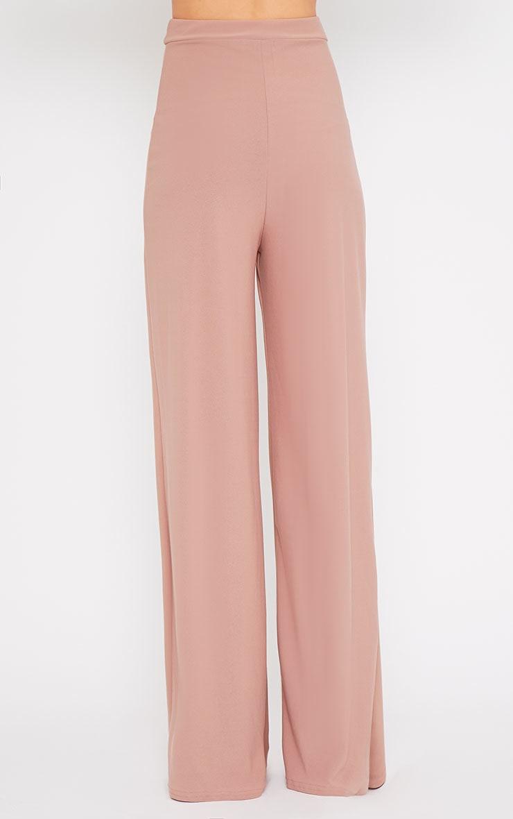 Zafia Dusty Pink Crepe Palazzo Trousers 2