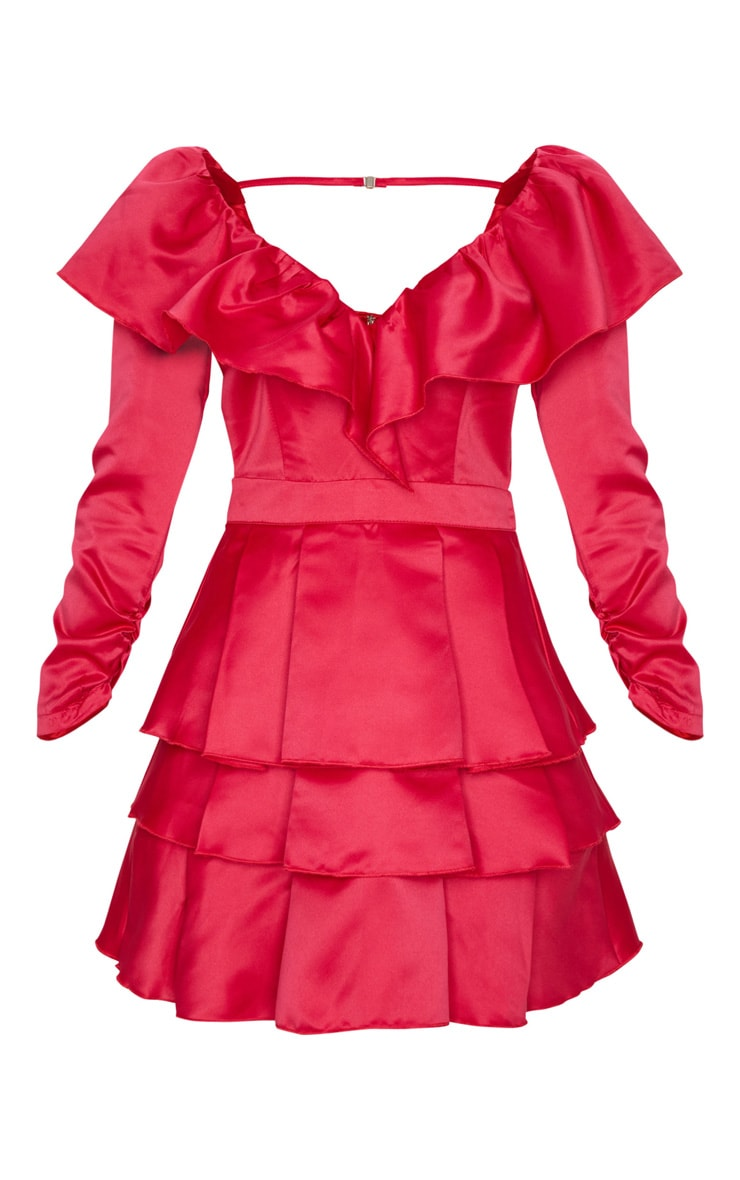 Red Long Sleeve Tiered Satin Skater Dress 5