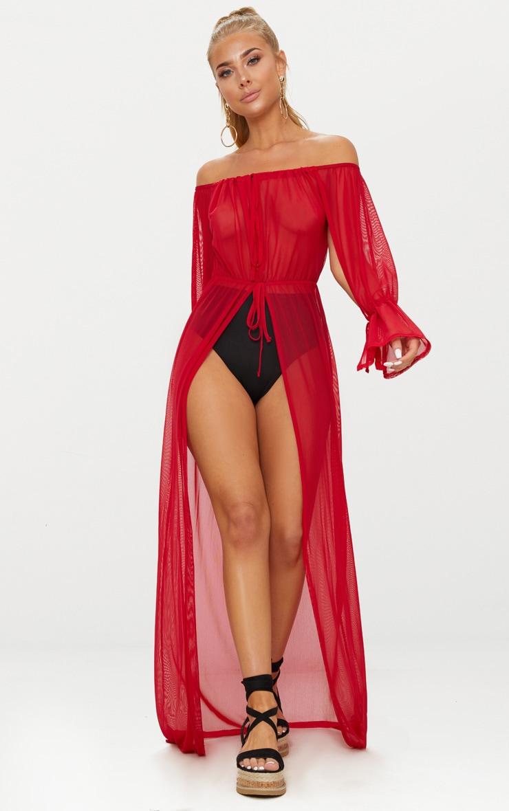 Red Off Shoulder Tie Cuff Beach Dress 1