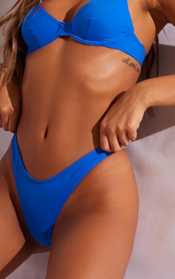 Bright Blue Recycled Fabric Mix & Match Thong Bikini Bottoms 4