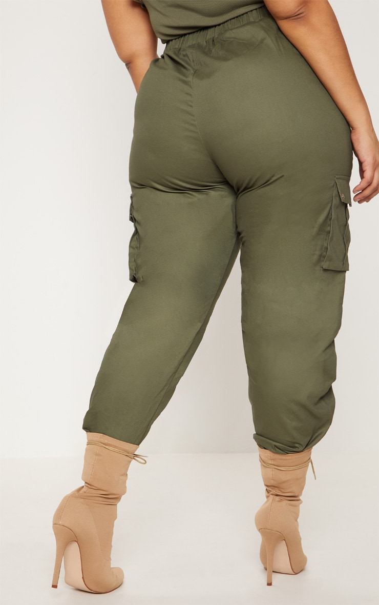 Plus Khaki Pocket Detail Cargo Trousers   4