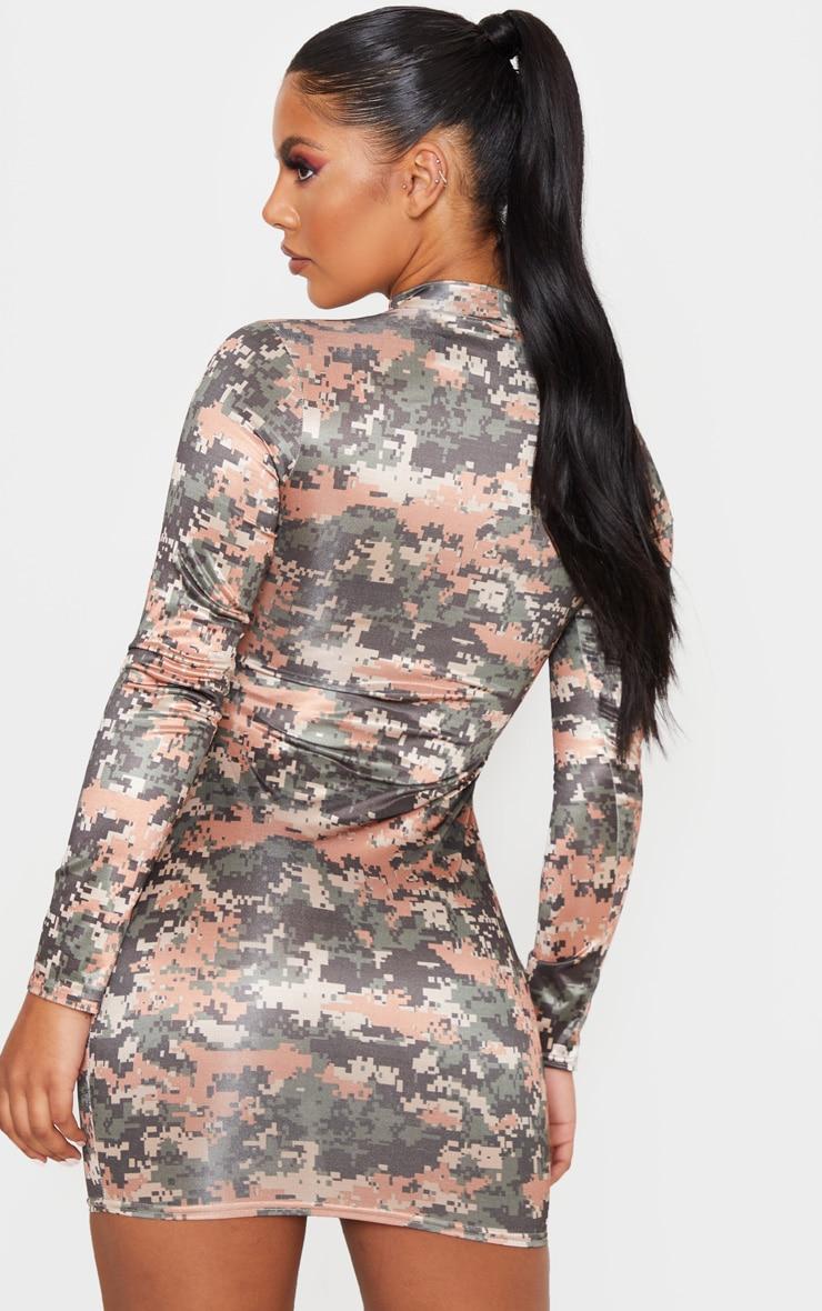 Multi Printed Metallic Slinky High Neck Long Sleeve Bodycon Dress 2