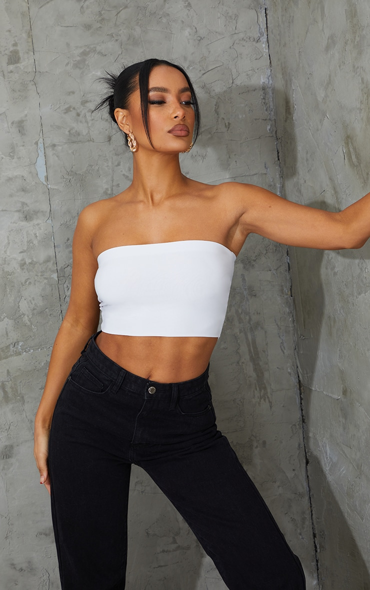 2 Pack Black and White Slinky Bandeau Crop Top  1