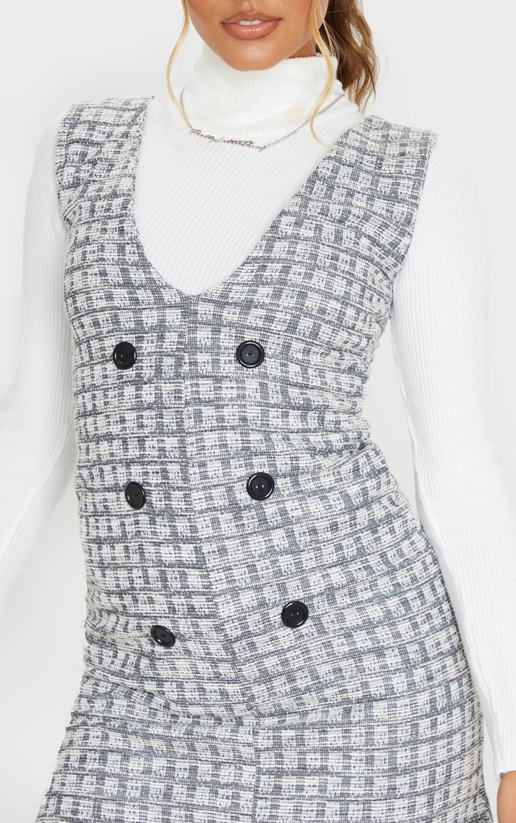 Black Tweed Button Front Shift Dress 5