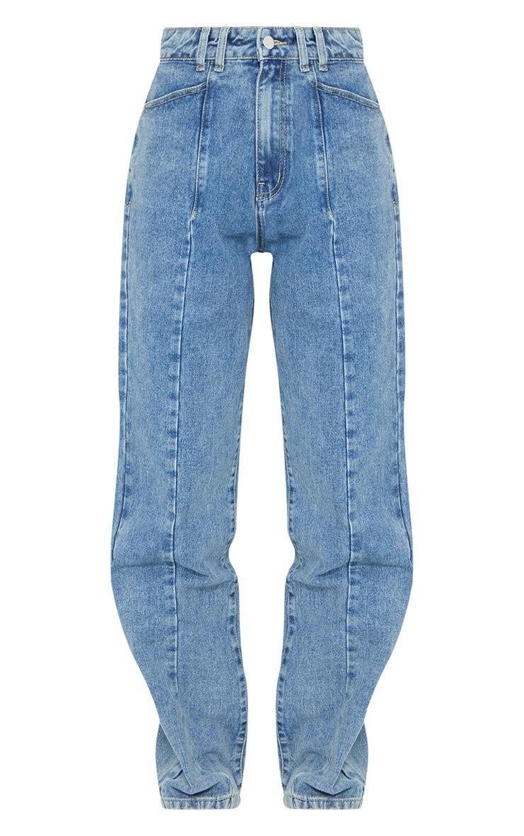 Vintage Wash Seam Front Wide Leg Jean 5