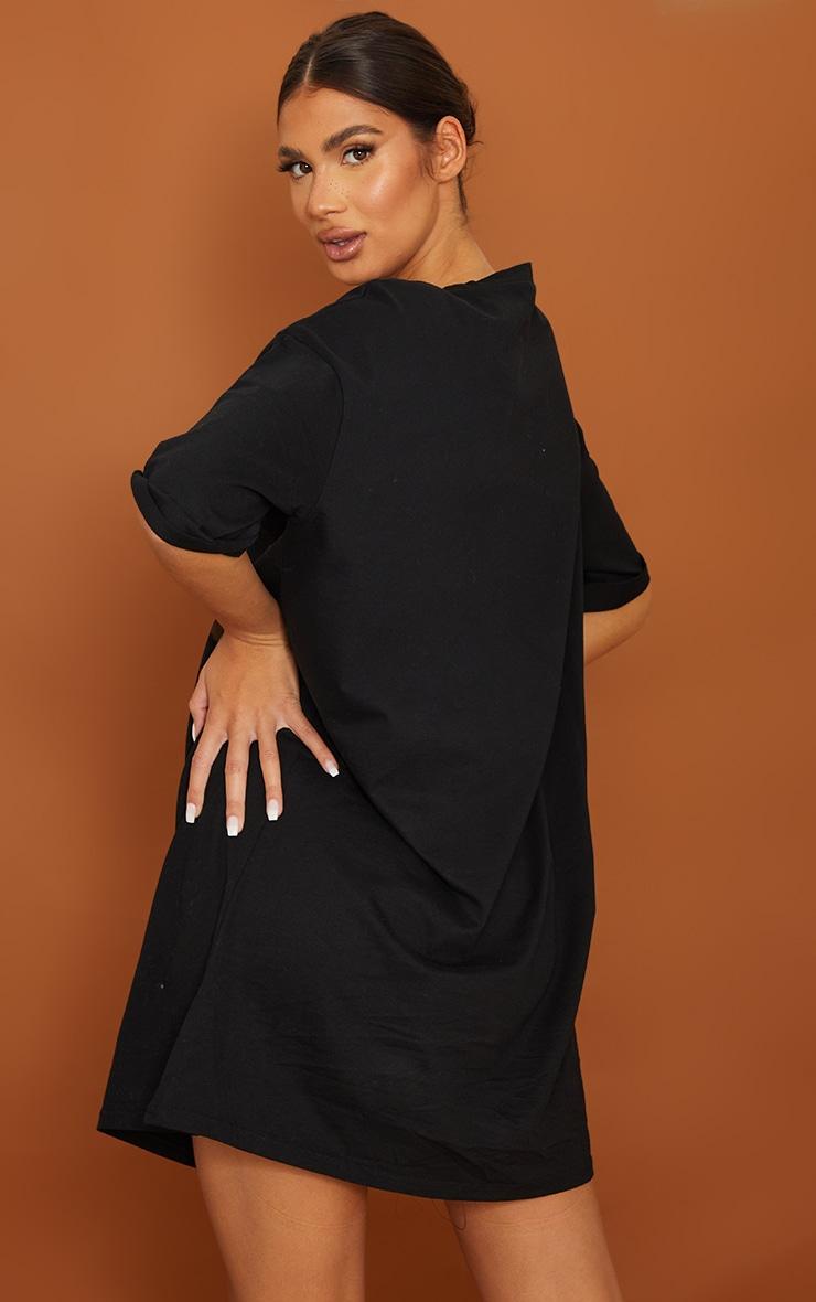 Tall Black Oversized Organic Tshirt Dress  2