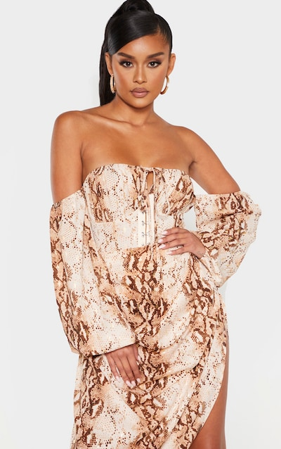 Brown Snake Hook and Eye Bardot Long Sleeve Bodysuit