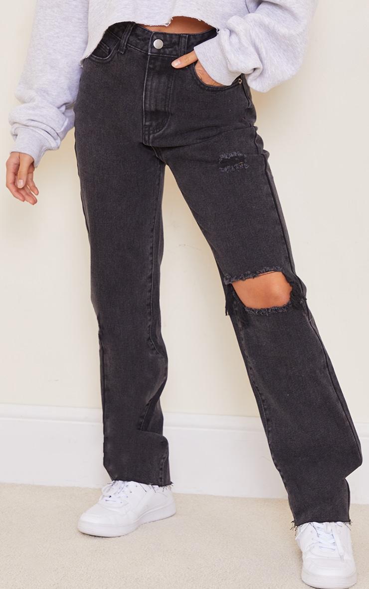 Petite Knee Rip Black Wash Long Leg Straight Jeans 2