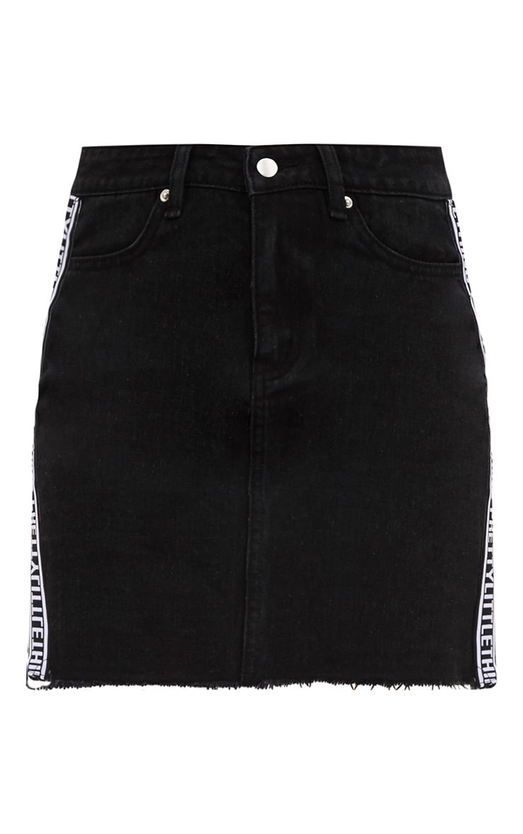 PRETTYLITTLETHING Black Sports Stripe Denim Mini Skirt 3