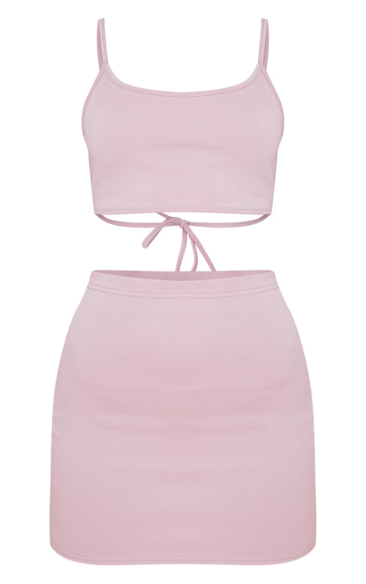 Mauve Scuba Strappy Bralet & Bodycon Skirt Set 3