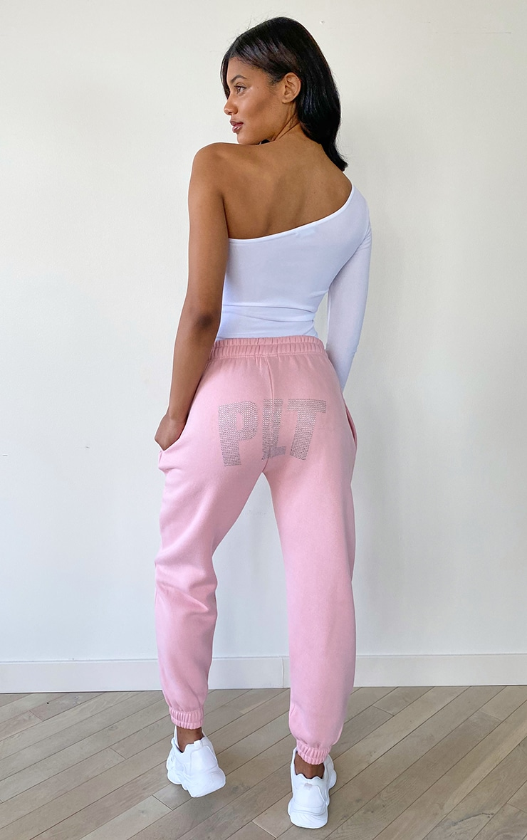 PRETTYLITTLETHING Tall Baby Pink Diamante Jogger 1