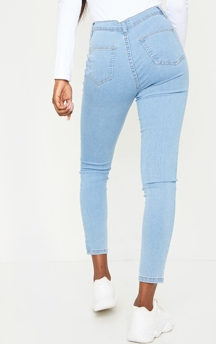 Tall Light Blue Wash Disco Fit Skinny Jeans 3