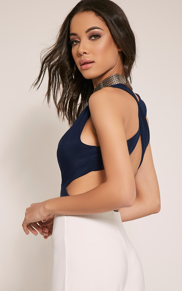 Penelope Navy Plunge Cross Back Bodysuit 1