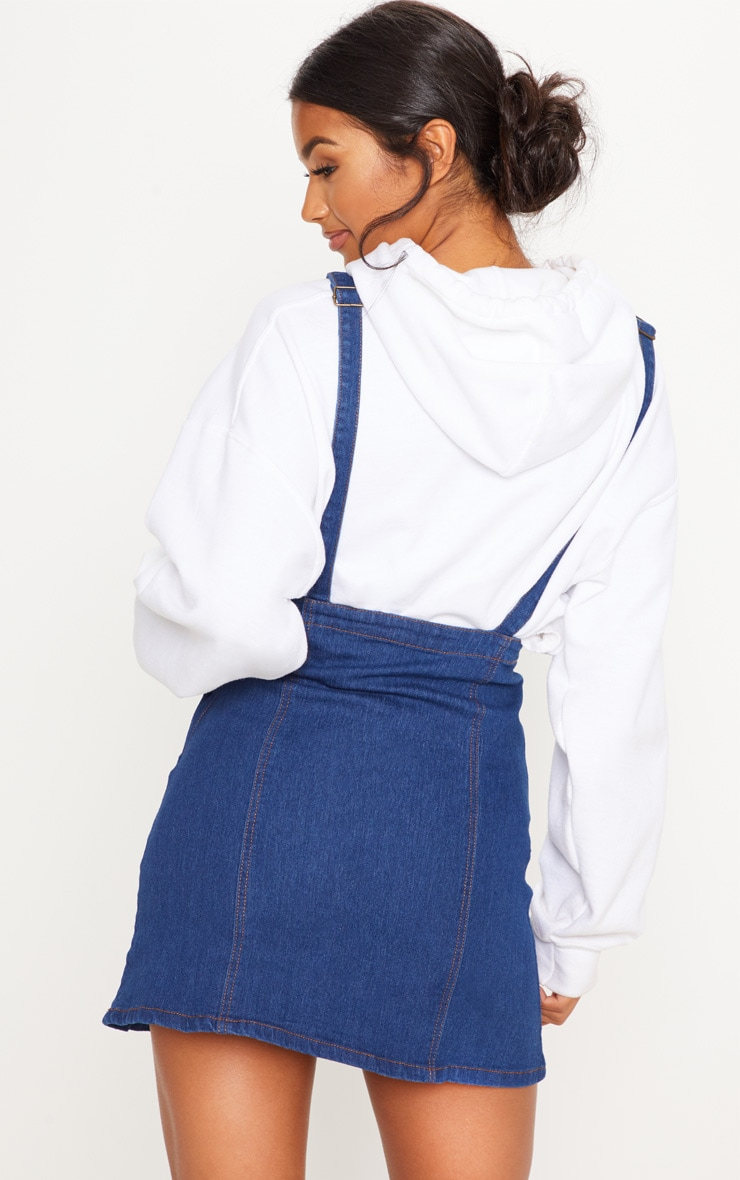 Martine Indigo Blue Denim Pinafore Dress 2