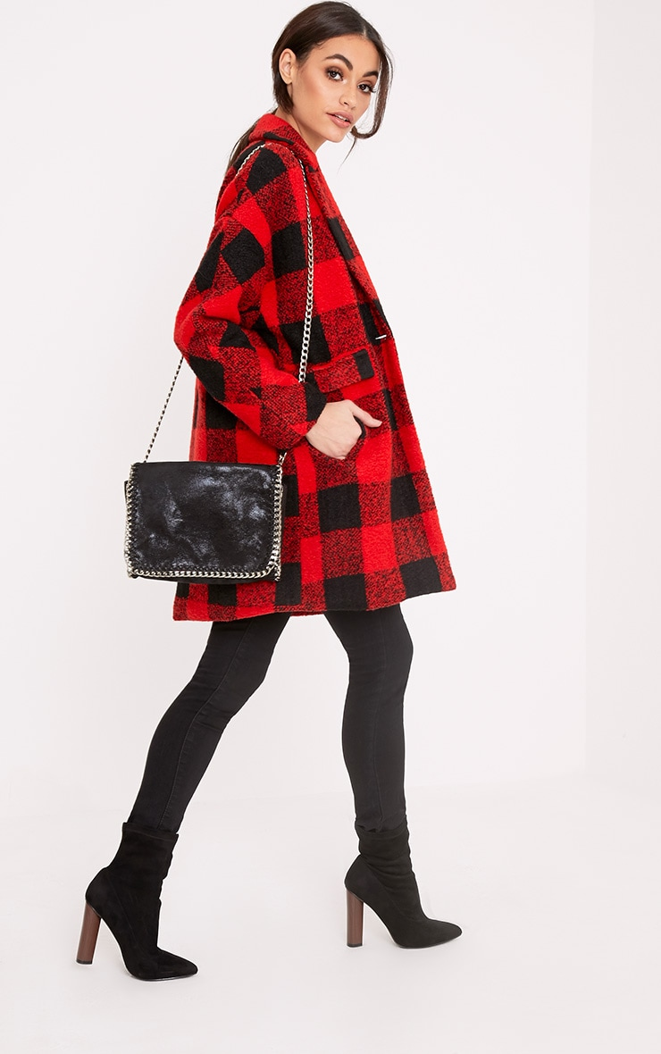 Stefanie Red Checked Oversized Coat 4