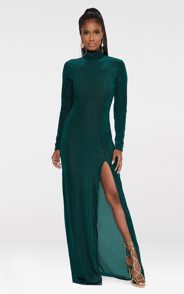 Emerald Green High Neck Long Sleeve Extreme Split Maxi Dress 1