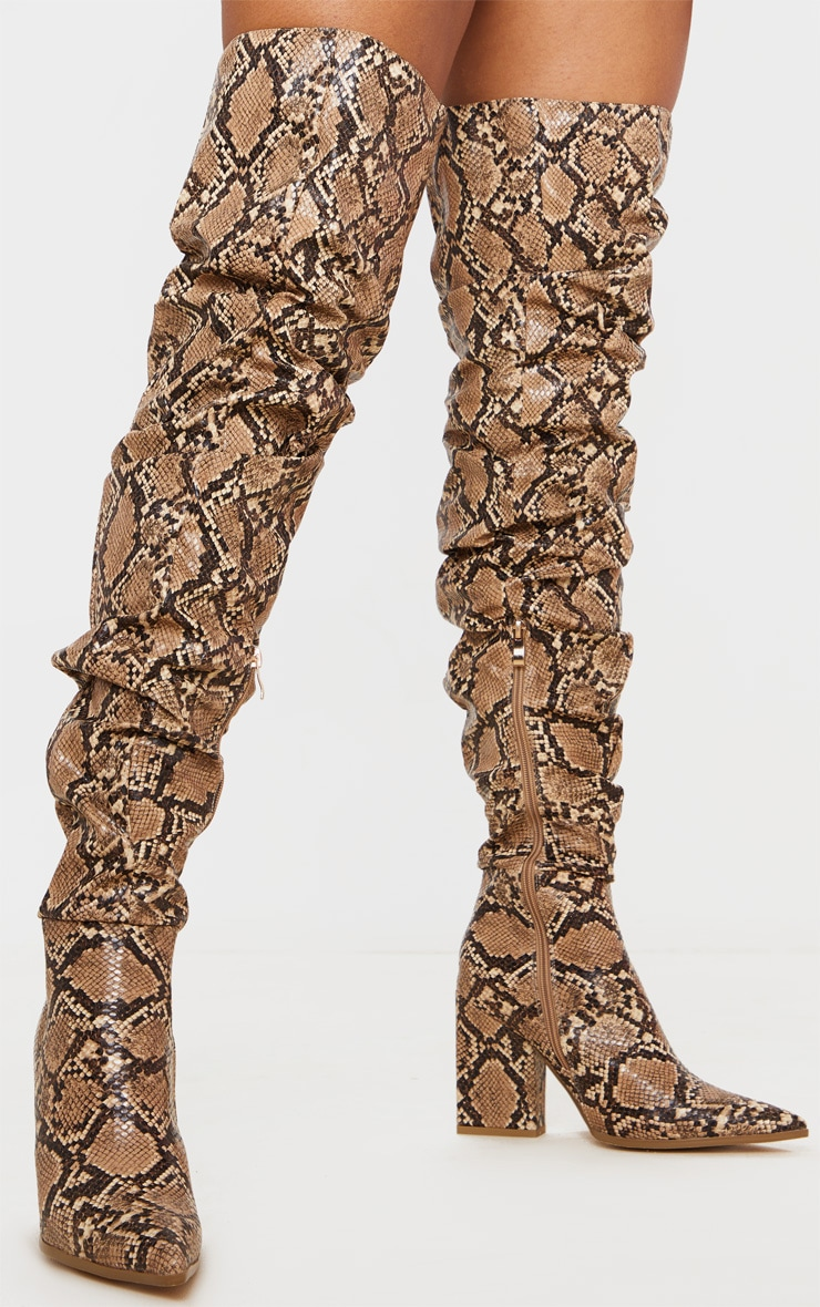 Brown Snake Ruched Thigh High Block Heel Boots 3