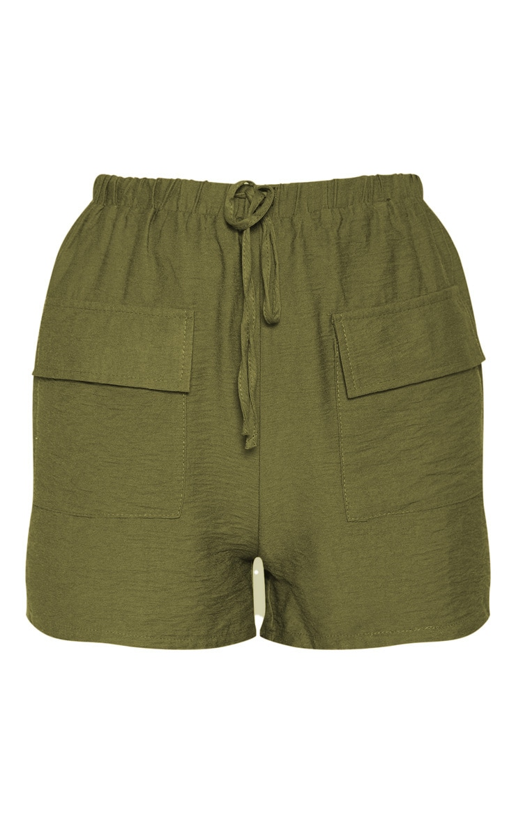 Khaki Woven Pocket Front Drawstring Short 3
