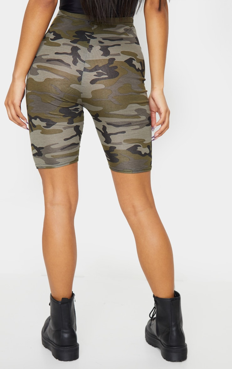 Khaki Camo Print Bike Shorts 3
