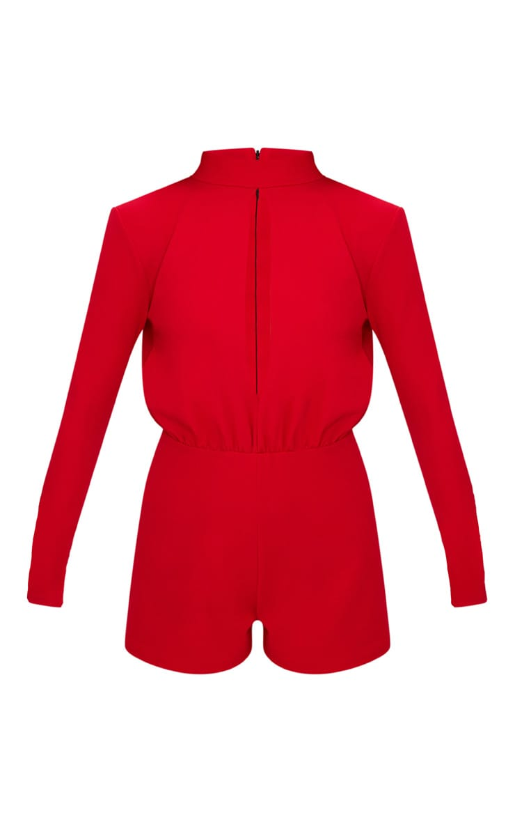 Red Keyhole Cut Out Playsuit 3