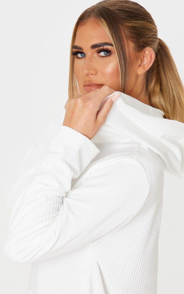 White Soft Rib Oversized Long Sleeve Hoodie Jumper Dress 5