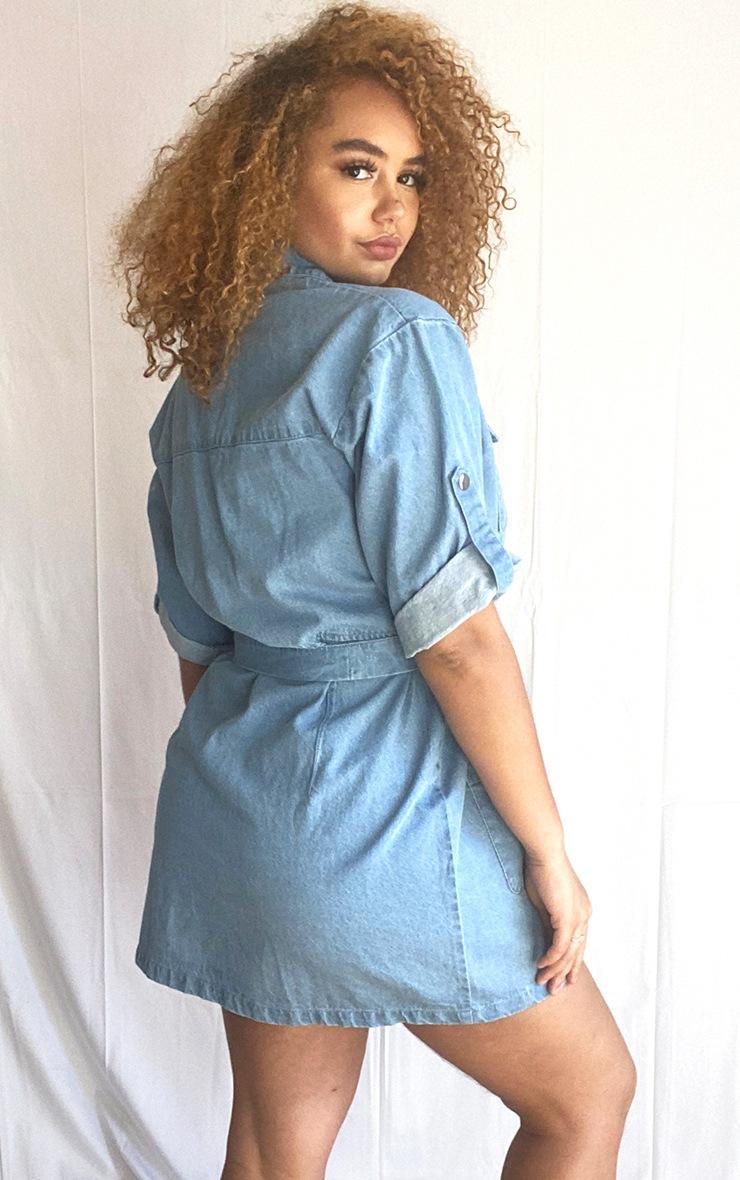 Plus Light Blue Wash Denim Belt Detail Dress 2