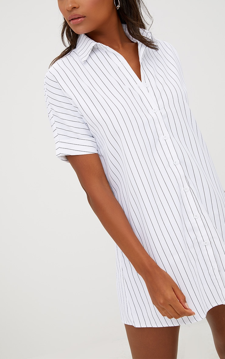 White Striped Short Sleeve Shirt Dress 5