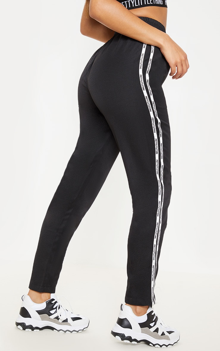 PRETTYLITTLETHING Black Stripe Track Pants 4