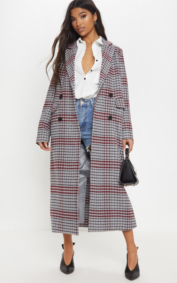 Grey Check Maxi Coat  1