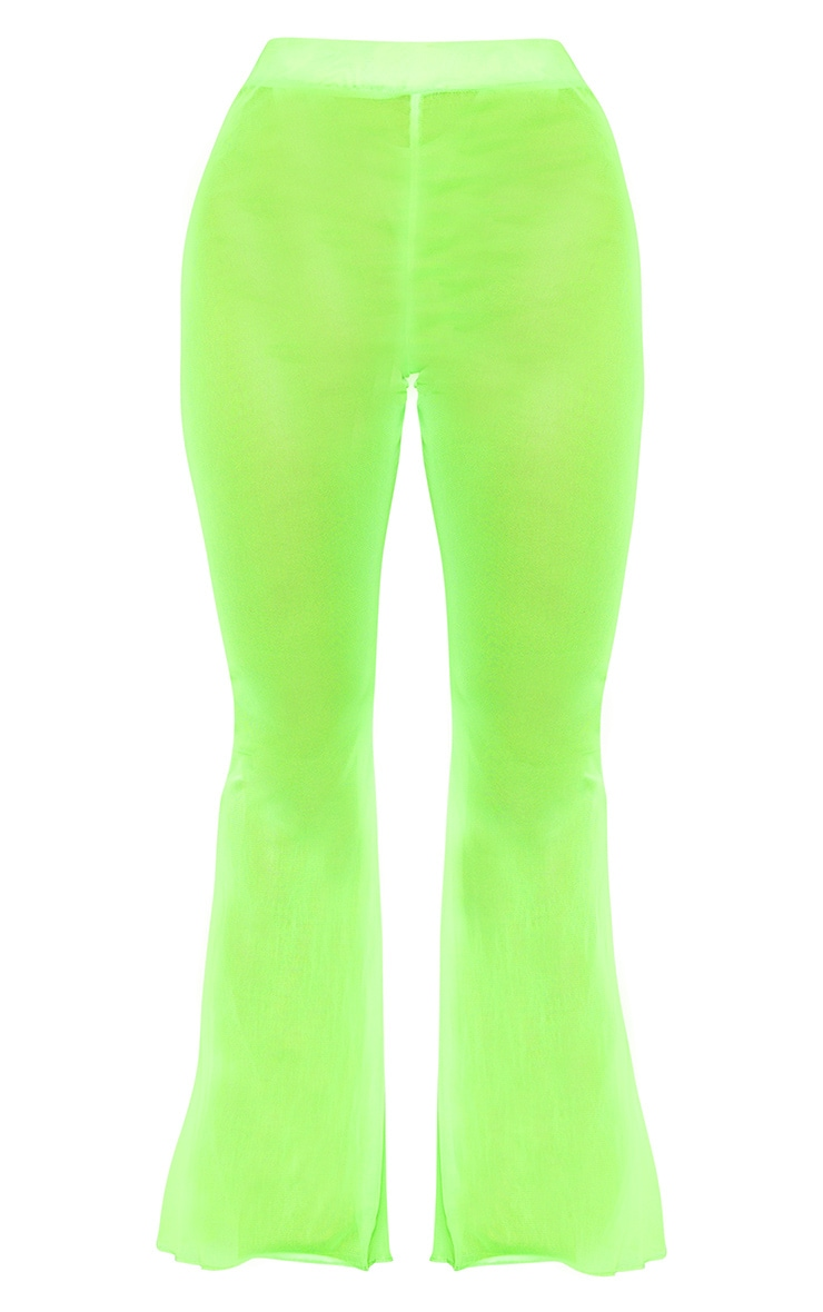 Plus Neon Lime Mesh Flare Pants 3