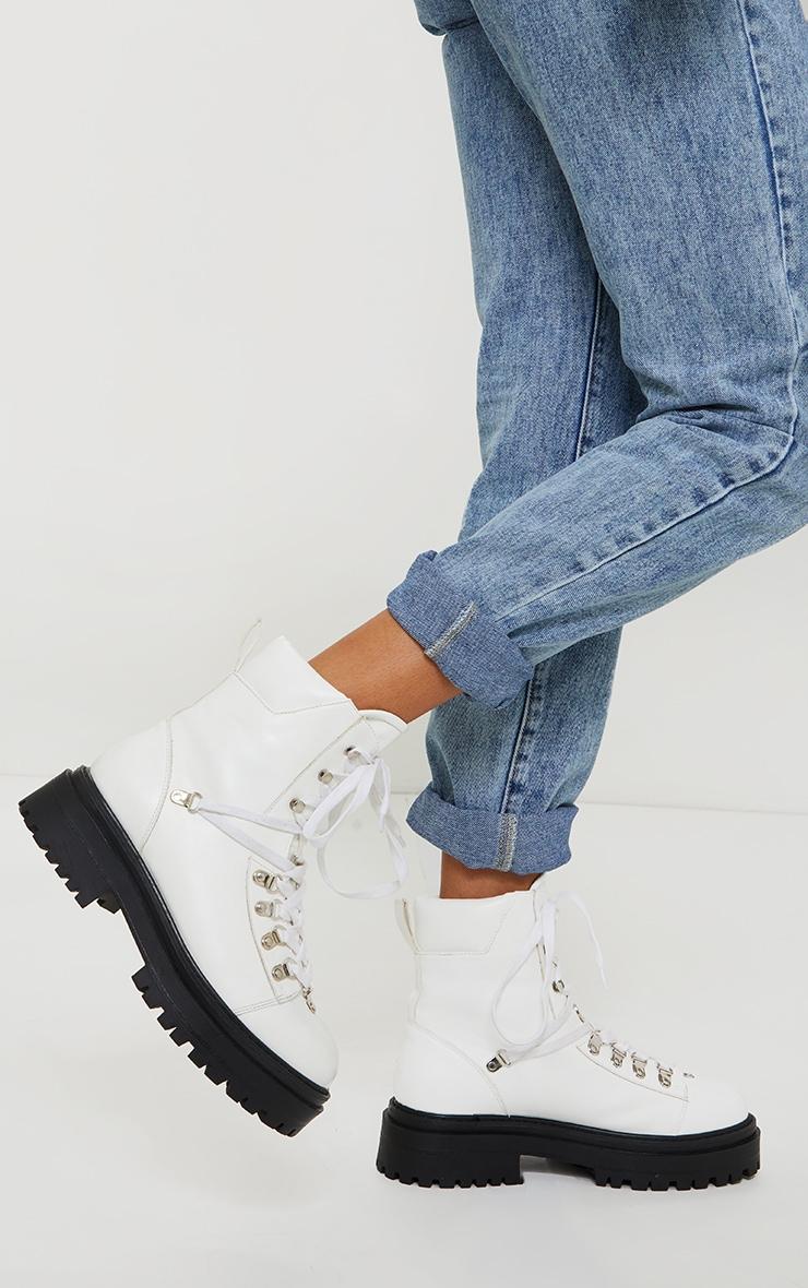 White Pu Lace Up Chunky Hiker Boot 2