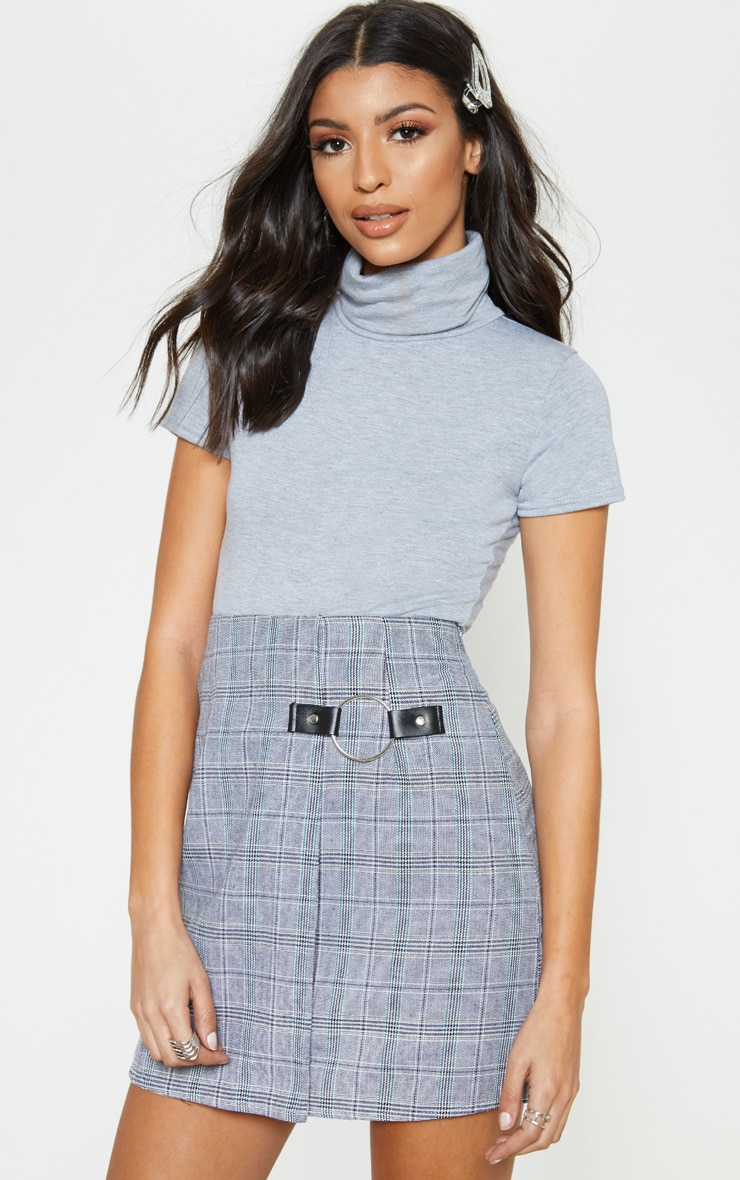 Grey Roll Neck Short Sleeve Bodysuit 2