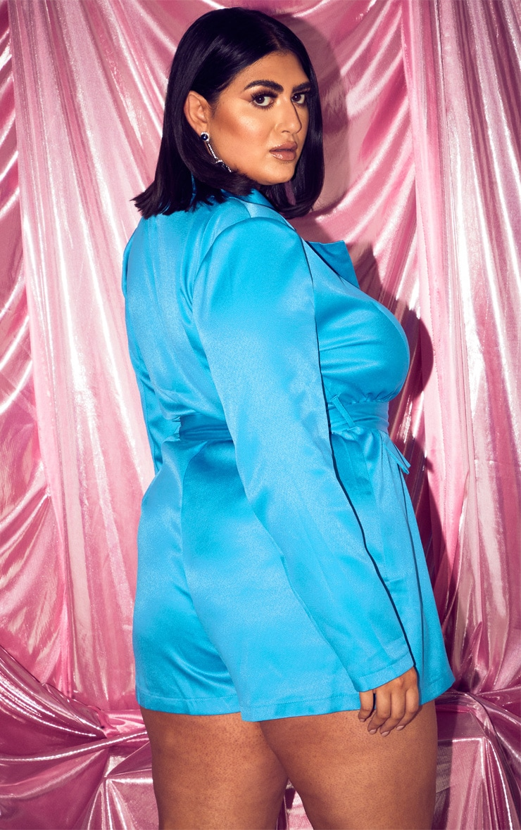 PLT Plus - Combishort blazer turquoise à poches 2