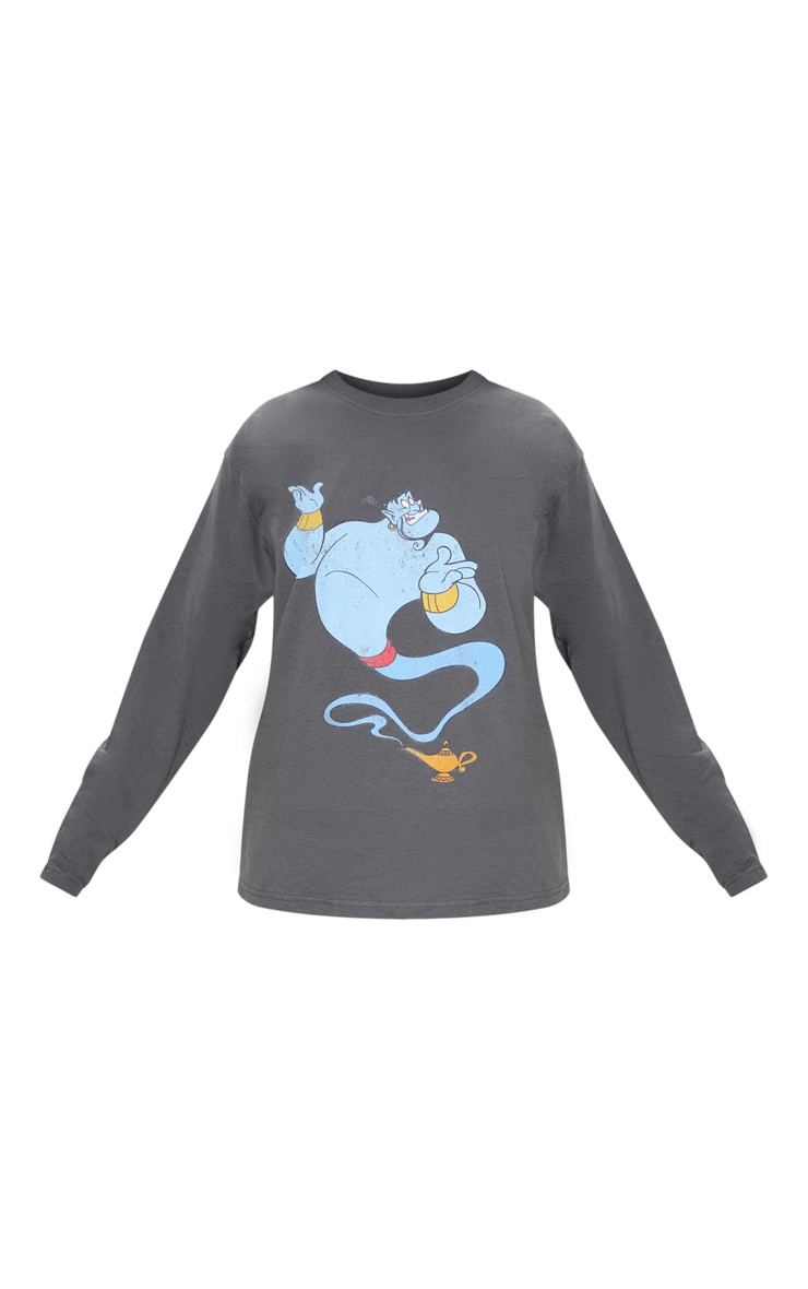 Charcoal Grey Disney Genie Print Oversized Long Sleeve T Shirt 3
