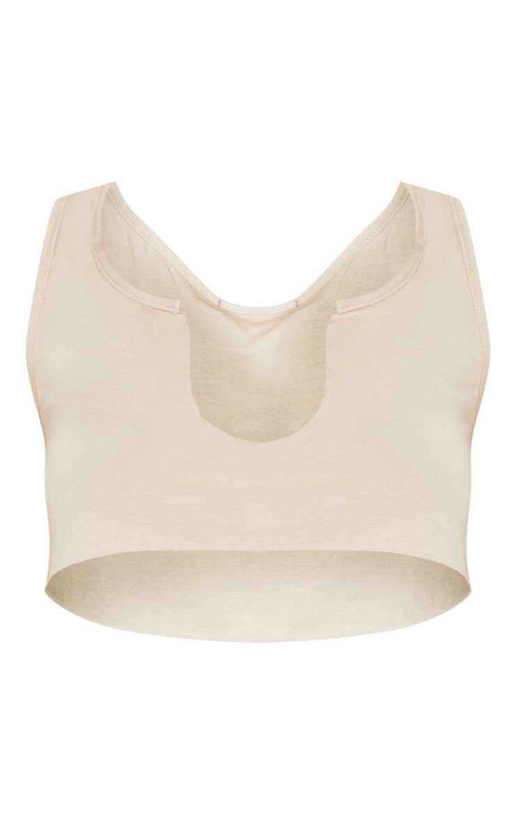 Basic Sand Jersey Deep V Raw Edge Crop Top 3