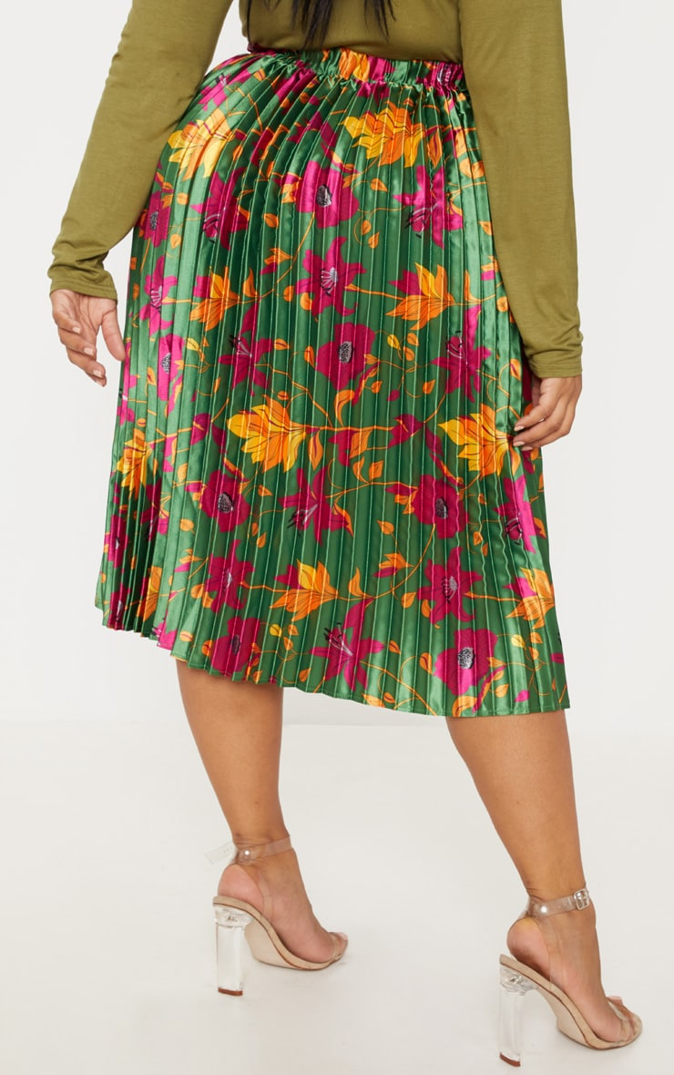 Plus Emerald Green Floral Print Pleated Midi Skirt 4