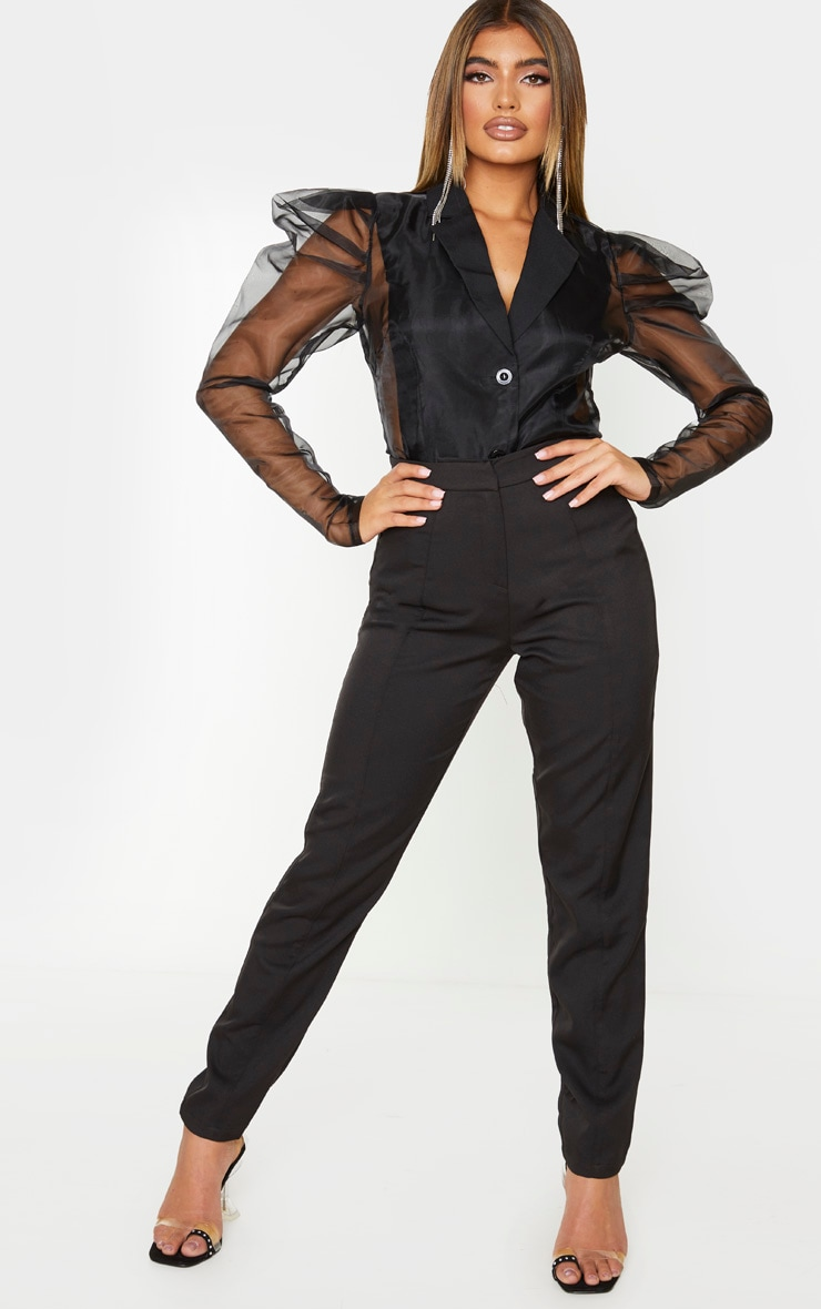Black Sheer Puff Sleeve Fitted Shirt 1