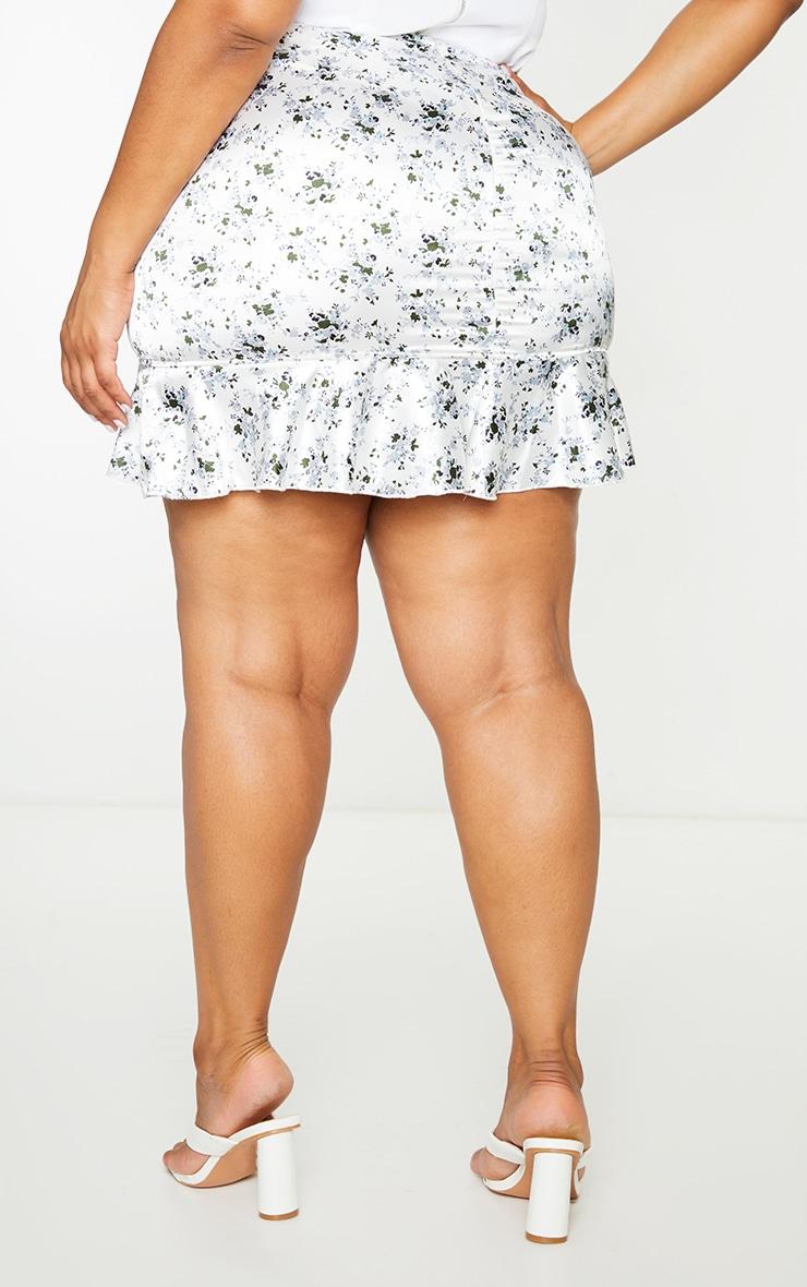 Plus White Floral Print Satin Frill Hem Mini Skirt 3