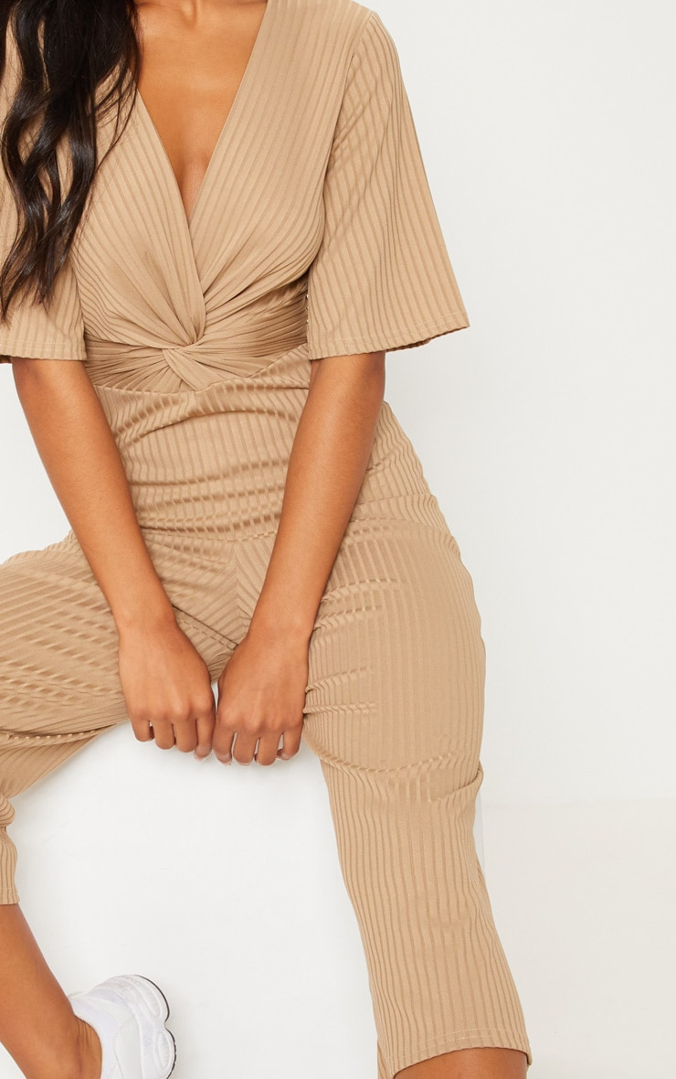 Deep Stone Ribbed Twist Detail Culotte Jumpsuit 5