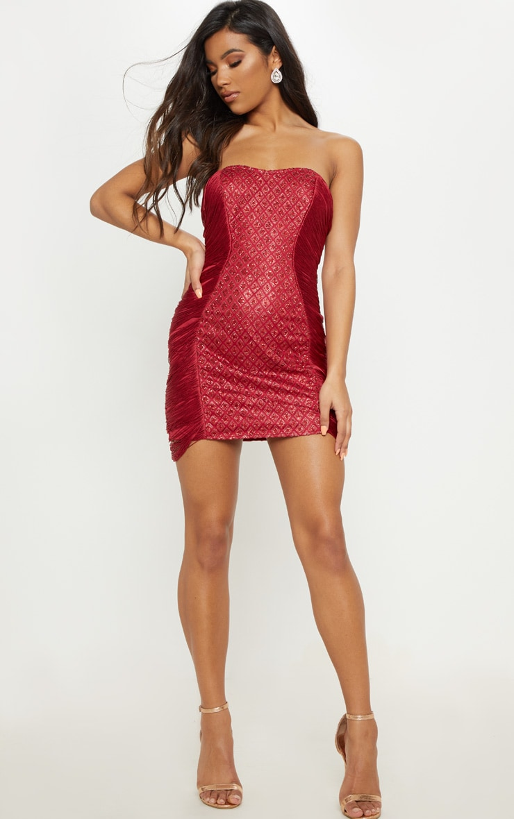 Burgundy Bandeau Glitter Tassel Bodycon Dress 4