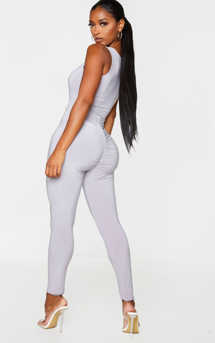 Shape Grey Slinky Ruched Bum Jumpsuit 1