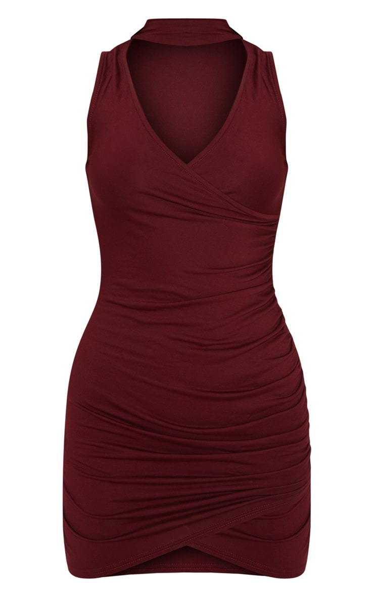 Amaris Burgundy Choker Detail Ruched Wrap Front Bodycon Dress 3