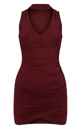 eb757a17db6 Amaris Burgundy Choker Detail Ruched Wrap Front Bodycon Dress image 3