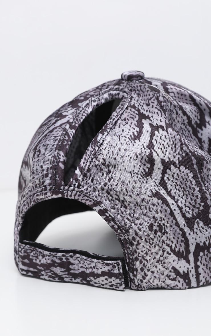 Grey Snake Printed Satin Baseball Cap 3