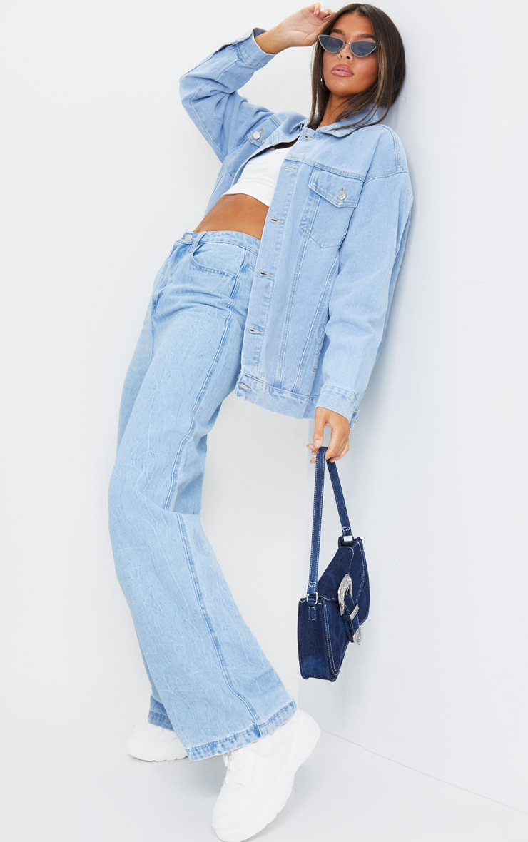 PRETTYLITTLETHING Light Blue Wash Oversized Boyfriend Denim Jacket 3