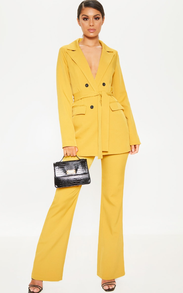 Mustard Belted Long Line Woven Blazer  4