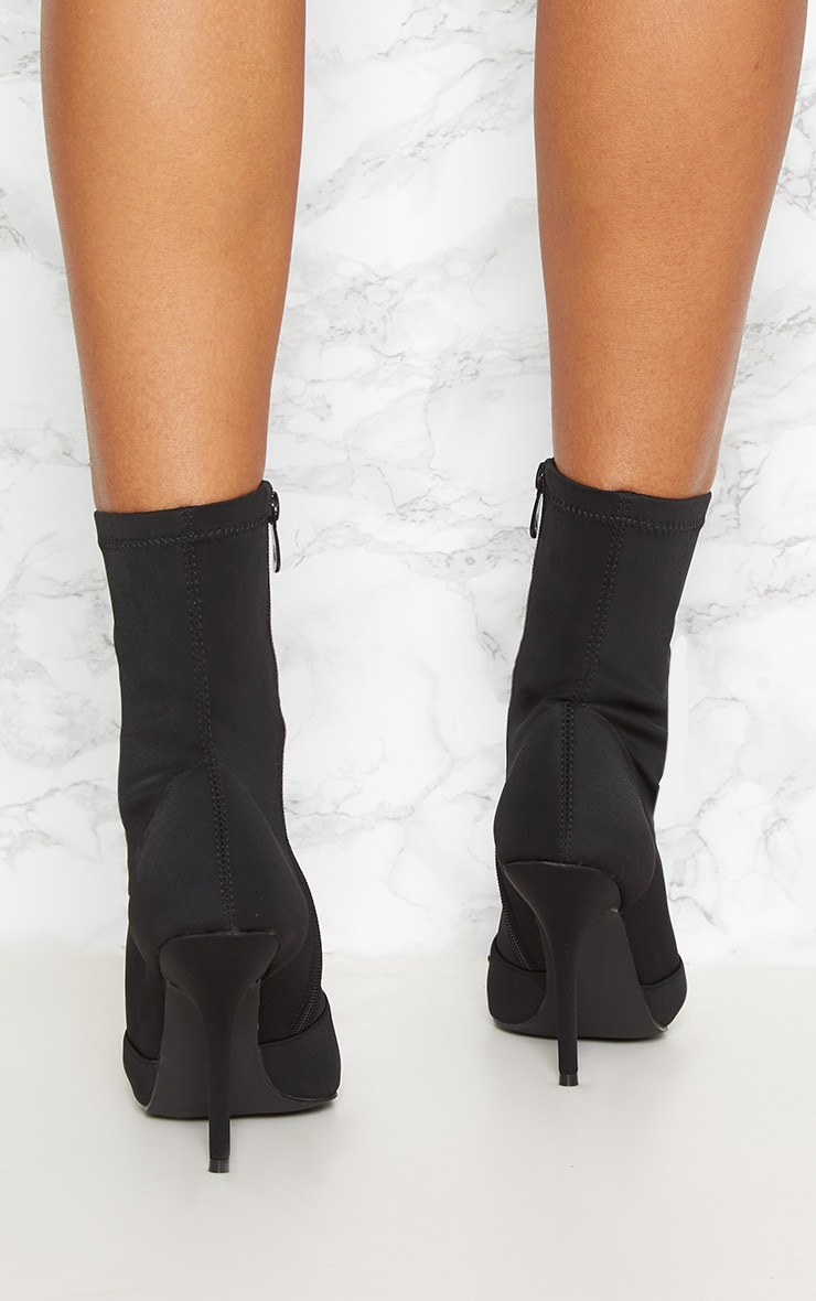 Black Neoprene Heeled Sock Boot 3