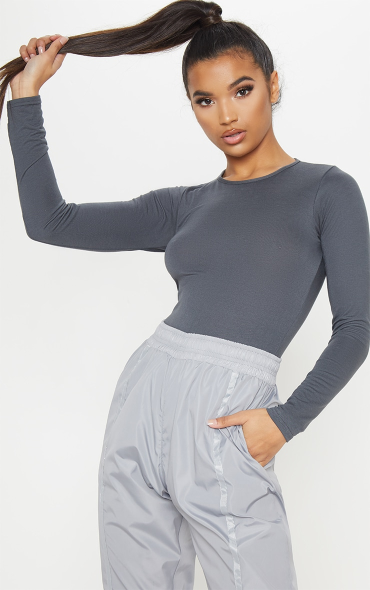 Basic Charcoal Crew Neck Long Sleeve Bodysuit 1